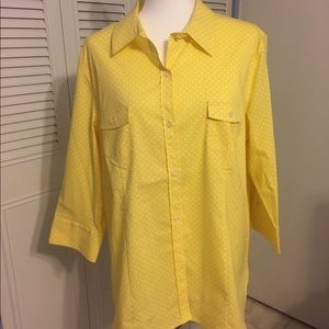 NWT Chico's Yellow & White Dots Button Down Top